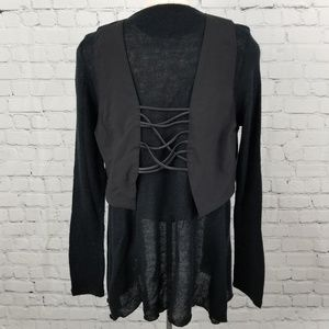 💎 Black open cardigan with attached laceup vest